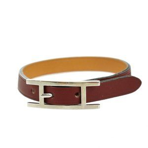 HERMES Logo ApiⅢ Bracelet Bangle Leather Red Silver Plated Accessory 04JE216